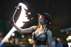 San Fransisco Fire Whip Fire Performer Hannah Elizabeth Flamewater Circus