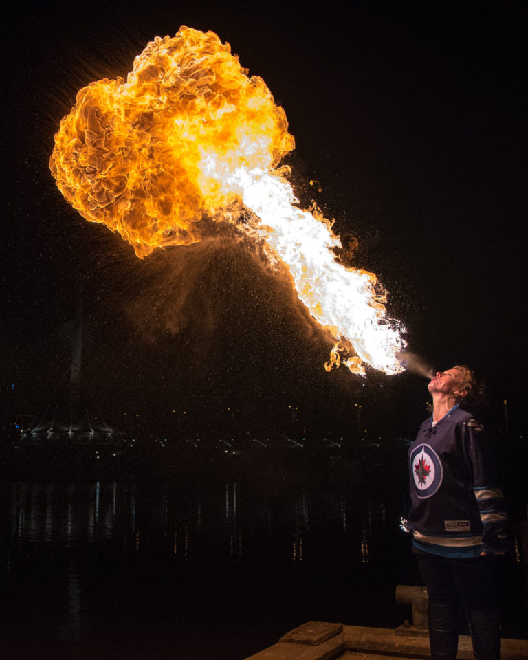 Winnipeg Jets Fire Breather NHL Tara Patrice Flamewater Circus