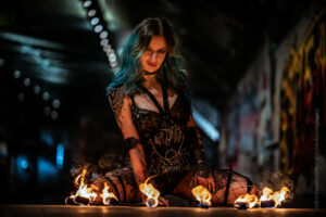London fire dancers uk fire performers Flamewater Circus Rebecca Crow katsandcrows